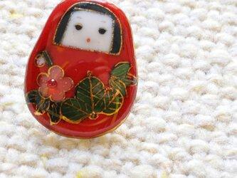 七宝焼ピンブローチ(ピンバッジ,ピンズ)  姫だるまの画像