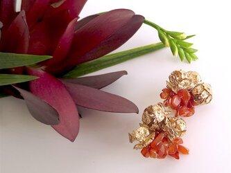 【再々販売】カーネリアン×ヒノキの実 イヤリング carnelian × hinoki cone scale earringsの画像