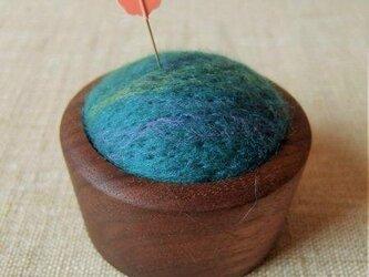 羊毛ピンクッション(針山)青色の画像