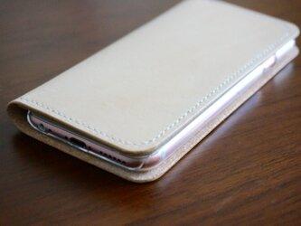 牛革 iPhone6/6sカバー  ヌメ革  レザーケース  手帳型  ナチュラルカラーの画像