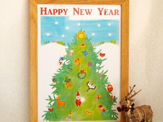 クリスマス、年末年始の季節の飾り(額装無し)の画像