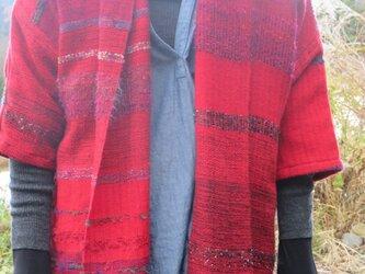手織り さをり織り マフラーコート 赤の画像
