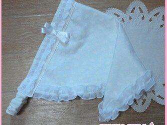 ホワイトフリル三角巾−子供用の画像