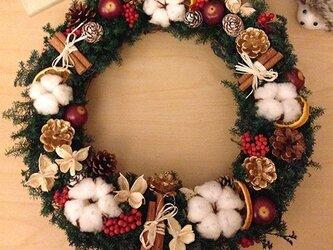 プリザーブドフラワー クリスマスリース「HAPPY」の画像