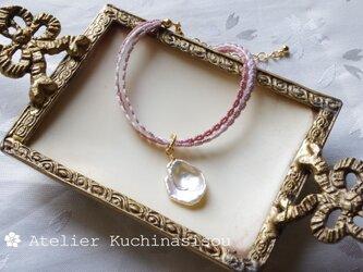 【受注製作】タティングレースの三連ブレスレット〈灰桜×ケシパール〉の画像