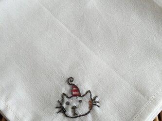 ハンカチ 猫のクリスマス刺しゅう(スター)の画像