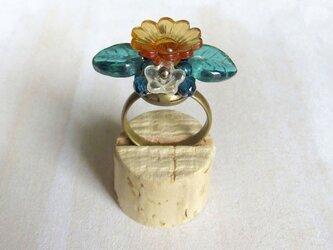 プラフラワーの指輪(クリアオレンジ)の画像