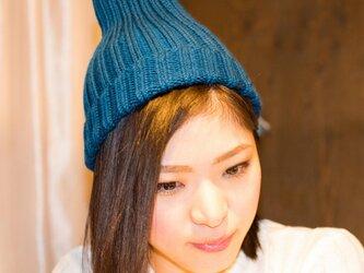 メリノウールリブ編み帽子(ブルー)の画像