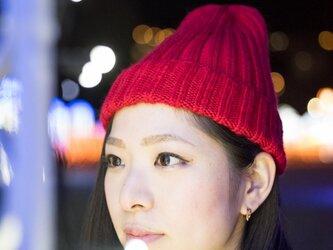メリノウールリブ編み帽子(レッド)の画像