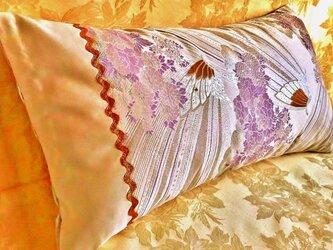 ★☆新品西陣織帯のクッションカバー・アクセントピローケース【爽やかな花・蝶】☆★の画像