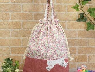花柄&リボンの着替え袋(体操着袋):ピンク色の画像