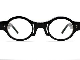 楕円とスリットの黒ぶちセルロイドメガネ018-BBの画像