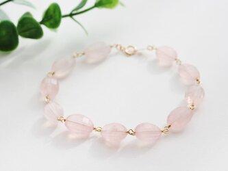 【14kgf】桜色・繊細カット高品質ローズクォーツブレスレットの画像