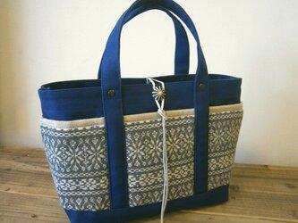 「wool tote」S ブルー×ノルディックグレーの画像
