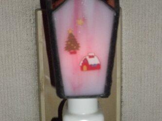 お休みランプ(ピンクにクリスマス転写)の画像