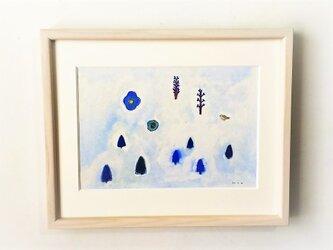 「静寂の森」イラスト原画  ※額縁入りの画像