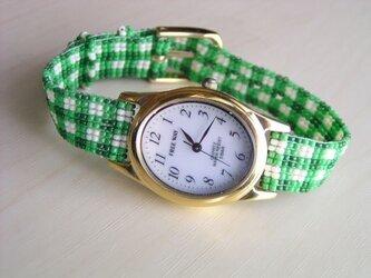 ビーズ織の時計ベルト(12mm)ギンガムチェック柄 ベルトのみ の画像