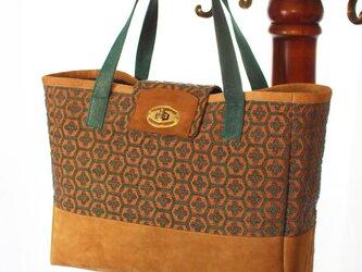 sale フランスジャガード織物×豚スエードのヴィンテージ風バッグの画像