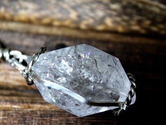 水入り水晶原石 silverネックレスの画像