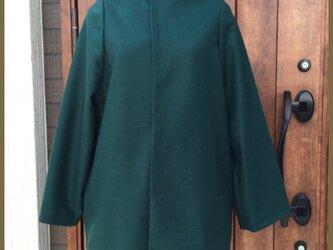 【送料無料】鮮やか グリーン コクーン コートの画像