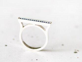 サファイア 横長 バー リング 指輪 シルバー925の画像