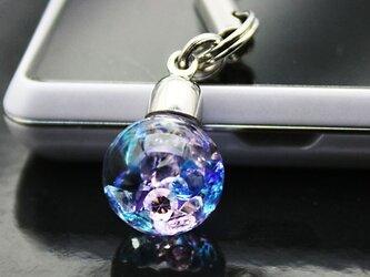 Bijou glass Ball ストラップorイヤホンジャック ブルー・パープル・ピンク・アイスブルーの画像