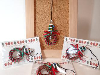 ガラスのクリスマスツリーのリボンレイ・ミニミニリース(ストラップ仕立て)の画像