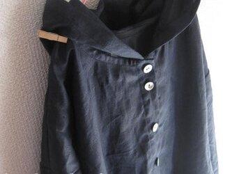 【受注製作/6.18再販売】W45リネン前開き長袖フード付きワンピース★濃紺の画像