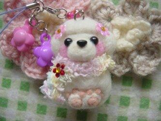 羊毛フェルト トイプードルお花ストラップ☆の画像