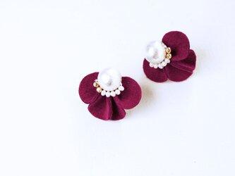 【新色】フラワーイヤリング fiore [ローズ]の画像