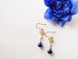 プチノエル ラピスラズリ ピアス Petit Noël Lapis&Pearl earrings P0034の画像
