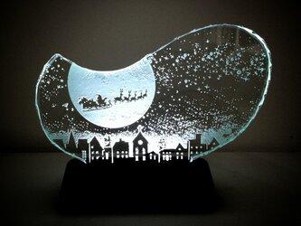 クリスマスのガラスエッチングパネル Mサイズ・オリジナルLEDスタンドセットの画像