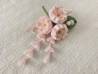 〈つまみ細工〉藤下がり付き桜三輪とベルベットリボンの髪飾り(淡桜)の画像