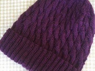 とんがりかわいいケーブル帽子(紫)の画像