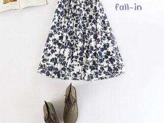 f008(再販)花柄プリントコットン ギャザースカートの画像