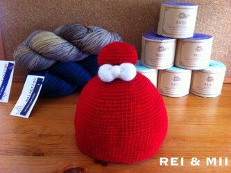 メリノウール ベビー用お団子帽子の画像