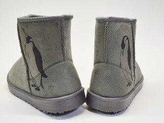ペンギン ボアブーツ、靴、グレー、オリジナルデザイン、シルクスクリーン、冬物ブーツの画像