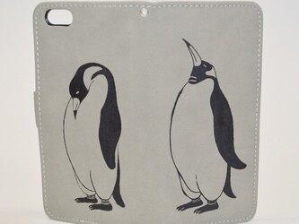 ペンギン手帳型 iPhoneケース、ベージュ、!iPhone5&6対応の画像