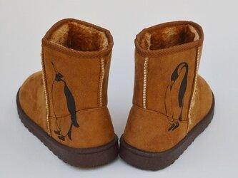 メンズ ペンギン ボアブーツ、靴、キャメル、オリジナルデザイン、シルクスクリーン、冬物ブーツの画像