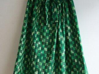 緑市松 ギャザースカート Fサイズの画像