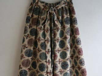 丸紋 ベージュ ギャザースカート Fサイズの画像