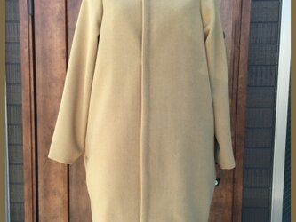 【送料無料】キャメル コクーン コートの画像