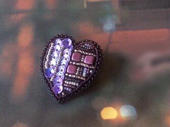 再販*ハートのブローチ~魅惑のパープル~の画像