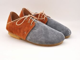 『plie lace-shoes』gray x camel suede leatherの画像