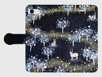 iPhone/手帳型スマホケース「銀河の森」(受注生産)の画像