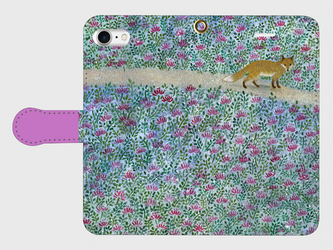 iPhone/手帳型スマホケース「レンゲ畑」(受注生産)の画像