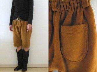 ゆるりコートハーフパンツ(裏付) からしアンゴラ混woolの画像