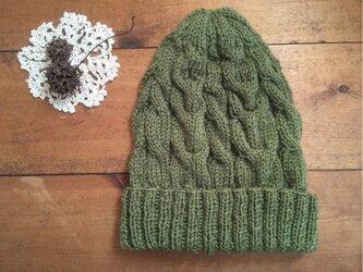 とんがりかわいいアラン帽子(カーキ)の画像