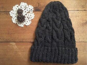 とんがりかわいいアラン帽子(ナチュラルブラウン)の画像
