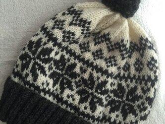 ノルディック(チャコールグレー)  ぽんぽん帽子の画像